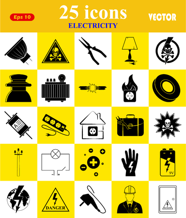 fire wire: Electricity 25 icons set for web and mobile Illustration