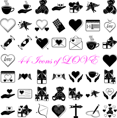 love declarations: Simple set icons of Love