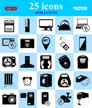 extractor hood: Appliances 25 icons set for web and mobile