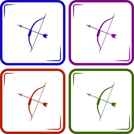 bow and arrow: Bow arrow vector icon