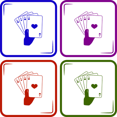 hand holding playing card: playing cards in hand. Vector icon