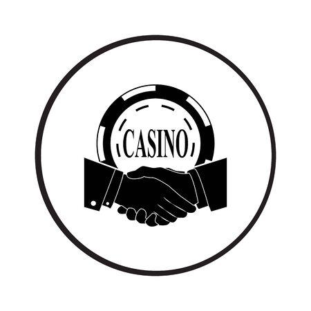 accord: Casino challenge. Handshake vector icon