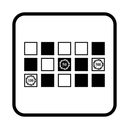 roulette table: Vector horizontal black simple icon of a roulette table.