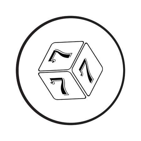 number 7: Cube Number 7 vector icon