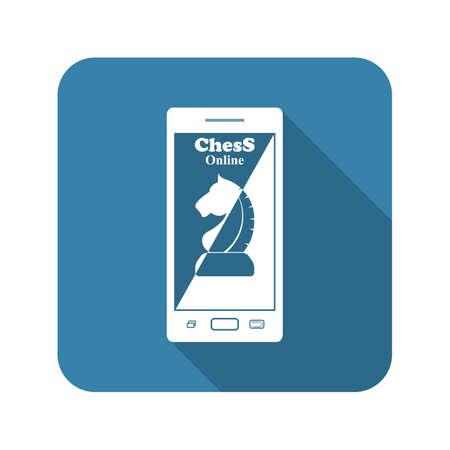 reasoning: Phone chess vector icon Illustration