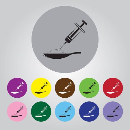 junkie: Spoon with drug and syringe vector icon