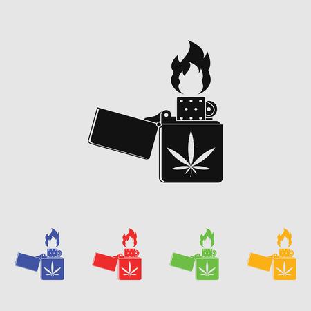 gas lighter: Lighter marijuana vector icon