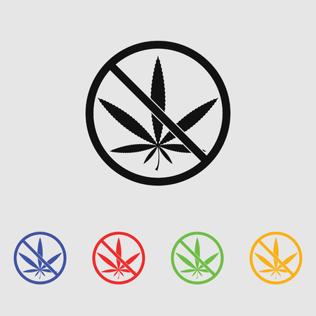prohibition: No marijuana prohibition vector icon
