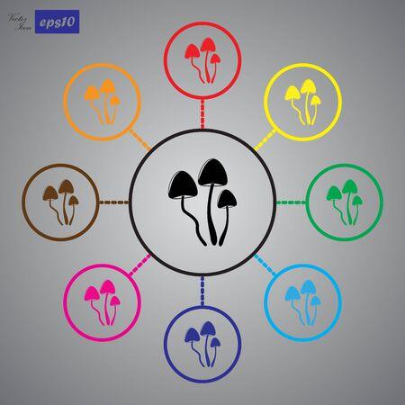psilocybin: Psilocybin mushrooms simple vector icon Illustration