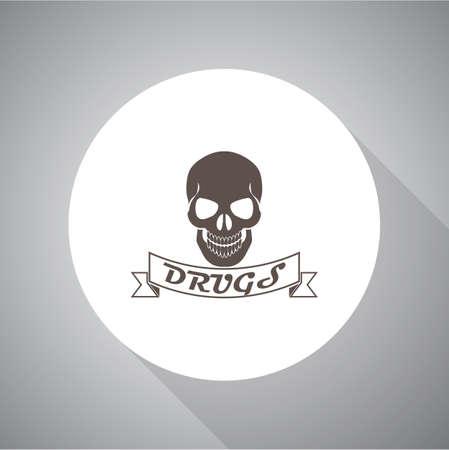 hashish: Drug Skull Vector icon Illustration