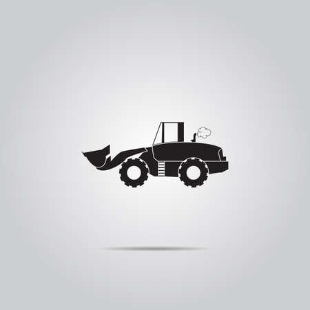 power shovel: bulldozer flat vector icon
