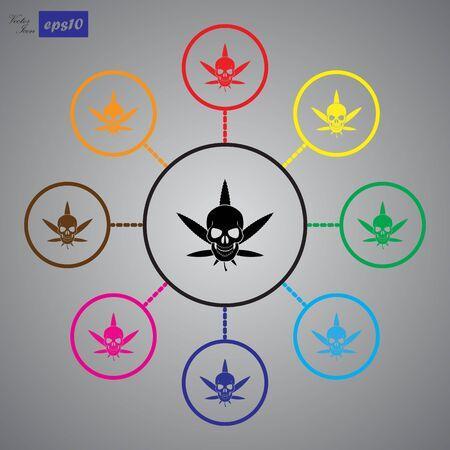 hashish: Cannabis Skull Vector icon Illustration