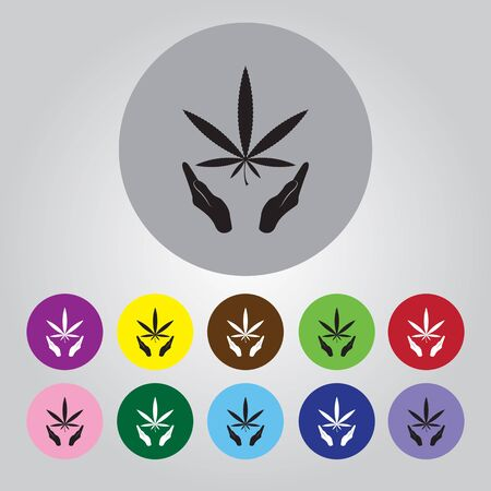 burning paper: Marijuana in the hand. Vector icon Illustration