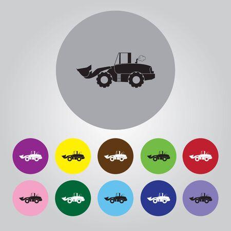 road grader: bulldozer flat vector icon