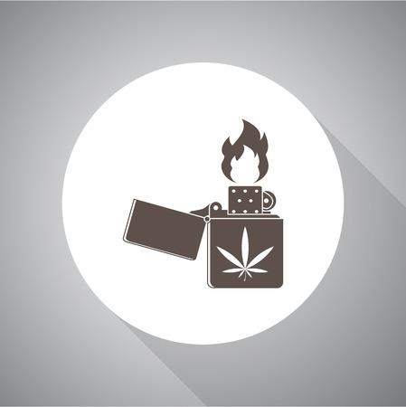 lighter: Lighter marijuana vector icon