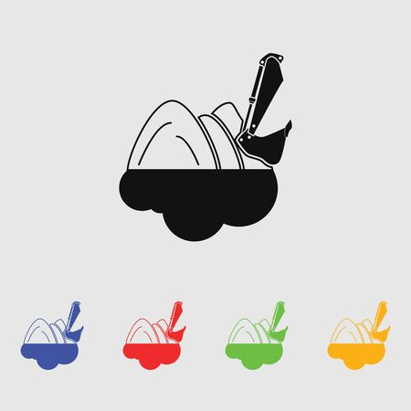 dredge to dig: Excavator vector icon for web and mobile