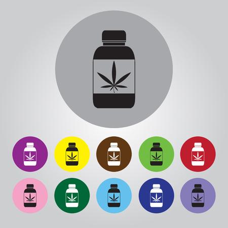 prescription bottles: Drug bottle vector icon for web and mobile Illustration