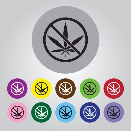 prohibition: Aucune prohibition de la marijuana vecteur icône Illustration