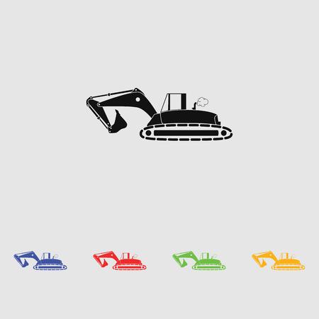 skid steer loader: Flat excavator icon. Vector