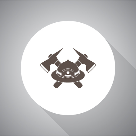 axes: Fireman hat and crossed axes vector icon Illustration