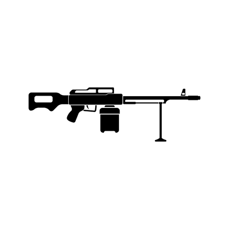 machine gun: Machine Gun. Vector illustration. Black simple icon. Flat style for web and mobile.