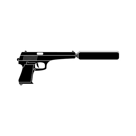 silencer: Pistol with silencer black simple icon. Flat style for web and mobile. Illustration