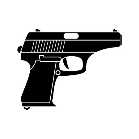 german handgun: Classic pistol. Vector simple black icon. Old handgun silhouette. Flat style for web and mobile.
