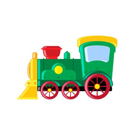 Cartoon toy train vector illustration. Flat style.