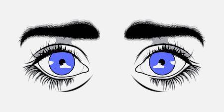 sexy teenage girl: Vector illustration Blue eyes