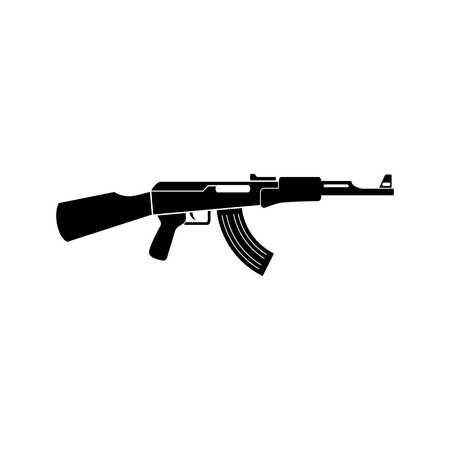 assault: Assault rifle black simple icon. machine gun silhouette. Illustration