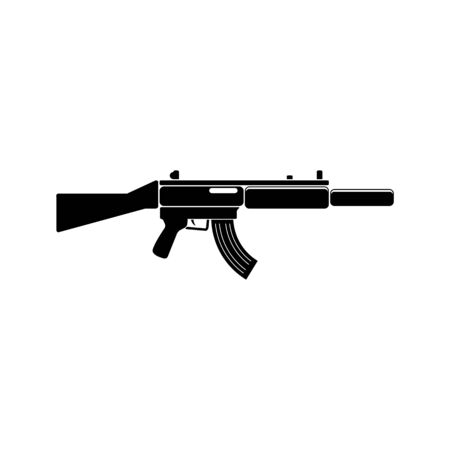 german handgun: Assault rifle weapon black simple icon. Vector. Flat style for web and mobile. Illustration