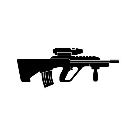 assault: Assault rifle vector icon. Black simple. Flat style for web and mobile.