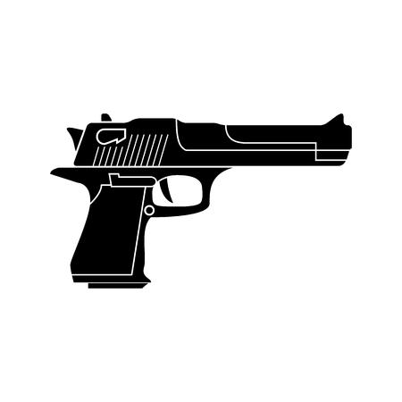 pistol gun: Powerful pistol, gun, handgun, vector. Black simple icon. Flat style.