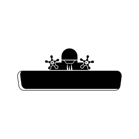 kitchen shower: sink vector icon for web and mobile. Flat style
