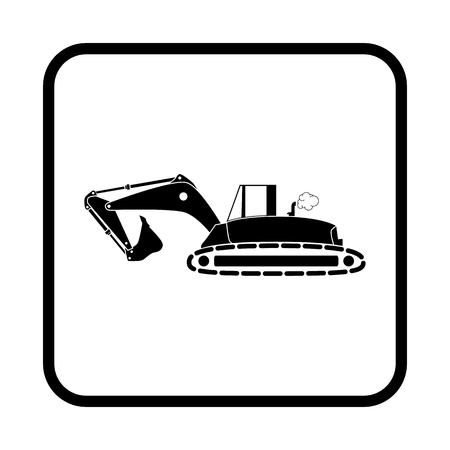 skid: Flat excavator icon. Vector