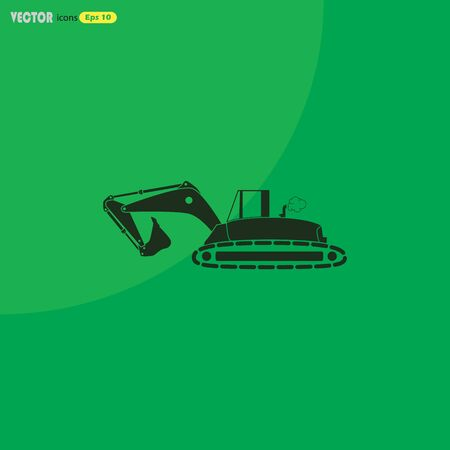 earth mover: Flat excavator icon. Vector