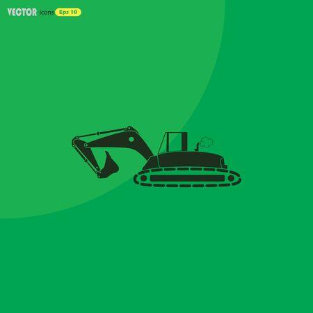 Flat excavator icon. Vector