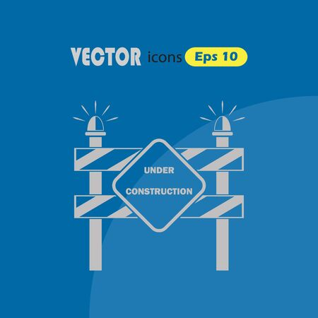 traffic barricade: Construction Roadblock vector icon