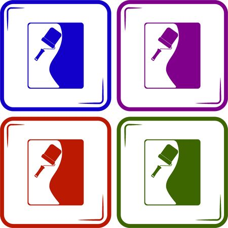 upkeep: Wall with roller paint vector icon Illustration