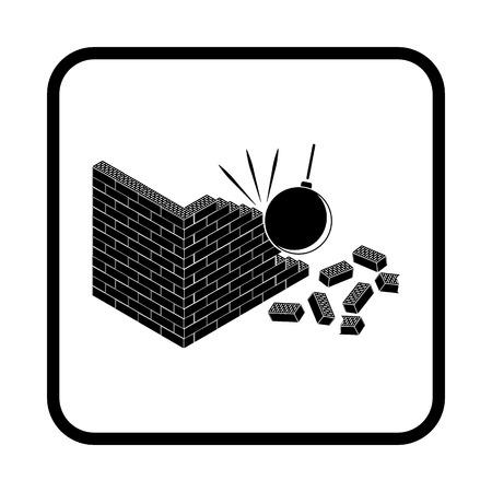 crumbling: Crumbling wall vector icon Illustration