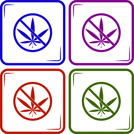 interdiction: Aucune prohibition de la marijuana vecteur ic�ne Illustration