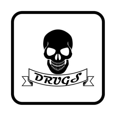 substance abuse: Drug Skull Vector icon Illustration