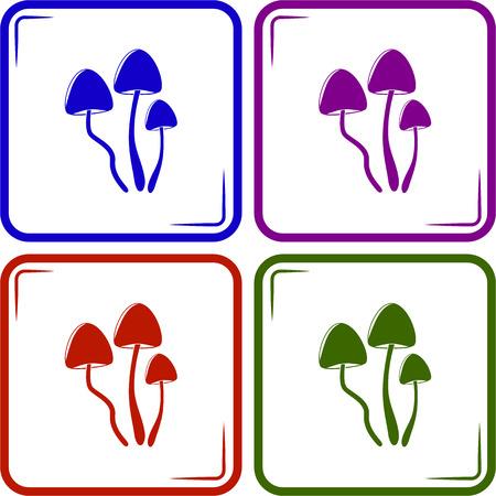 front of the eye: Psilocybin mushrooms simple vector icon Illustration