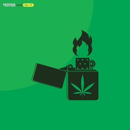 Lighter marijuana vector icon