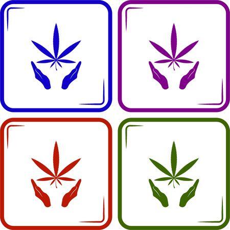unlawful: Marijuana in the hand. Vector icon Illustration