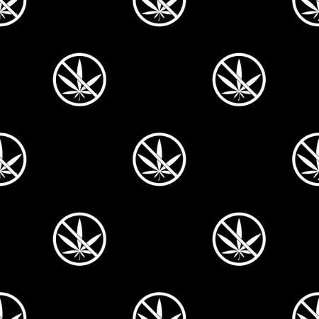 interdiction: Aucune prohibition de la marijuana vecteur icône Illustration