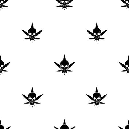 substance abuse: Cannabis Skull Vector icon Illustration