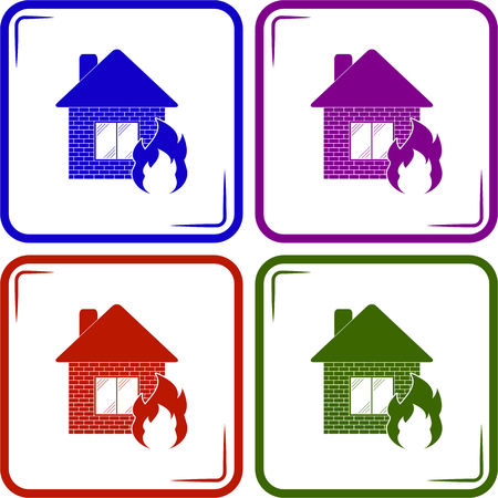 sabotage: home fire icon vector Illustration