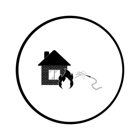 fire station: Fire Station. Single flat icon. Vector illustration.