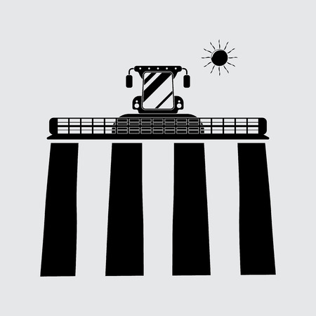 cornfield: Combine harvester sun vector silhouette. Simple icon Illustration